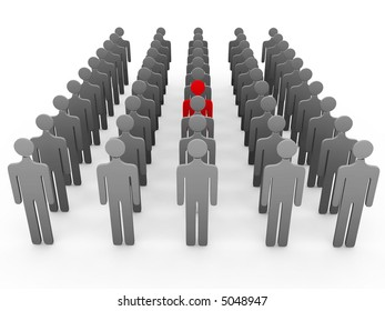 3d people group and one red over a white background