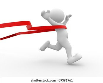 3d people - human character crossing the finishing line. 3d render illustration