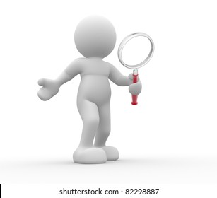 3d people- human character with magnifier glass. 3d render illustration