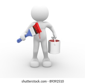 3d people - human character with paint brush and bucket. 3d render