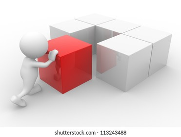 3d people - human character - person with cubes