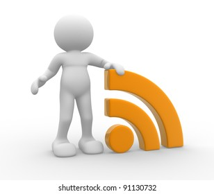 3d people - human character , person  and  RSS symbol ( blog ).  3d rendered illustration