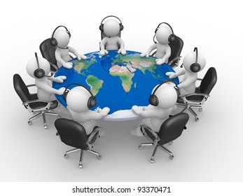 3d people - human character , person with microphone and  headphones at a conference table with world map. 3d render