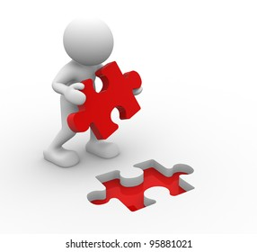 3d people - human character, person and last piece of puzzle ( jigsaw). 3d render