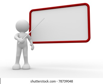 3d people - human character pointing on backboard - This is a 3d render illustration