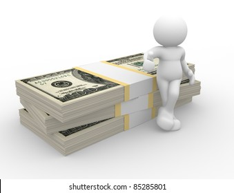 3d people - human character supported by a stack of U.S. dollars. 3d render illustration