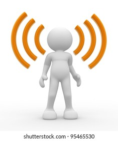 """3d people - human character and """"Wireless"""" symbol . 3d render"""