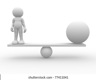 3d people icon in balance with sphere