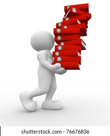 3d people icon carrying a stack of folders - This is a 3d render illustration