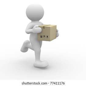3d people icon  running with a box in his hand -  This is a 3d render illustration