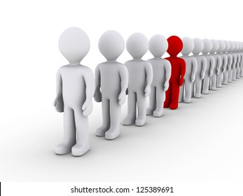 3d people in line and one is different in color