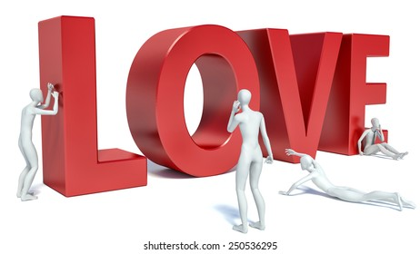 3d people look at the word love