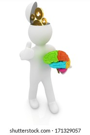 3d people - man with half head, brain and thumb up. New Concept of technical solutions with gears