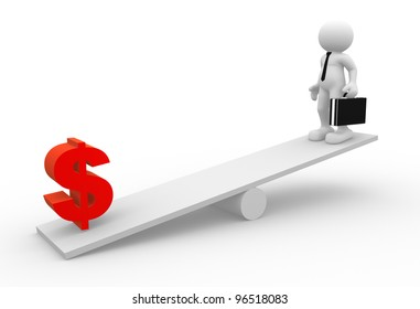 3d people - man, person with briefcase and tie ( businessman) in balance with dollar sings