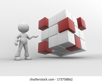 3d people - man, person with cubes.