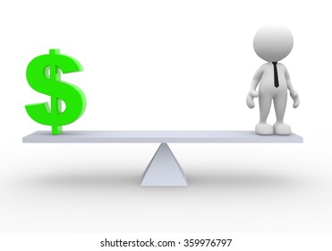 3d people - man, person and a dollar sign. Businessman