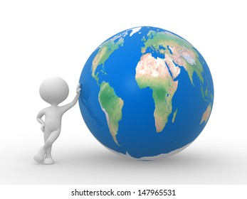 3d people - man, person with Earth Globe