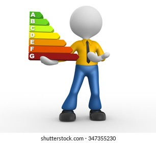 3d people - man, person and a energy chart with clipping path. Energy efficiency concept.