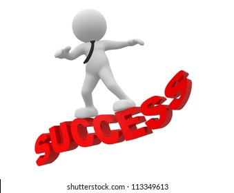 "3d people - man, person flying on word ""success"". The concept of success"