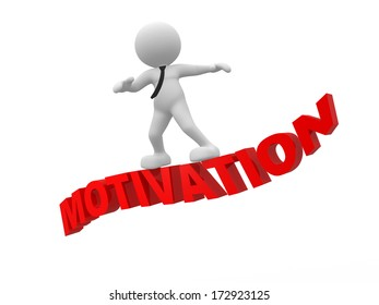"""3d people - man, person flying on word """"motivation"""". The concept of motivation"""