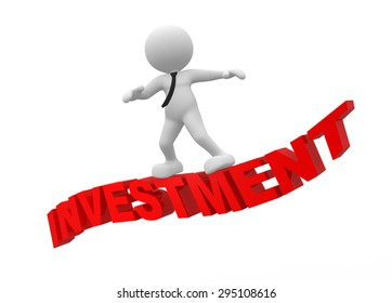 """3d people - man, person flying on word """"investment"""" The concept of investment"""