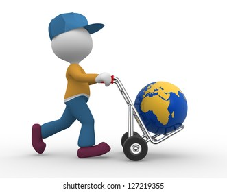 3d people - man, person with hand truck and earth globe