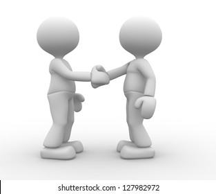3d people - man, person hand shaking with another guy.
