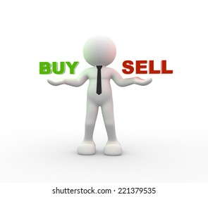 3d people - man, person holding the words Buy and Sell
