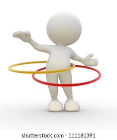 3d people - man, person with hula hoop.