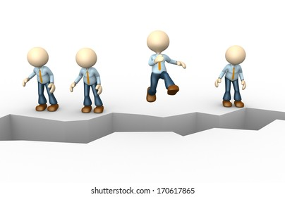 3d people - man, person jumping over cracked earth
