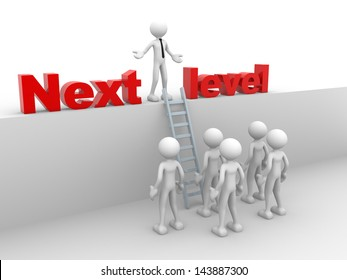 3d people - man, person with ladder.  Next level. Progress concept.