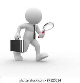 3d people - man, person with magnifier in hand and briefcase. Businessman