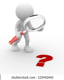 3d people - man, person magnifying glass question mark red search.