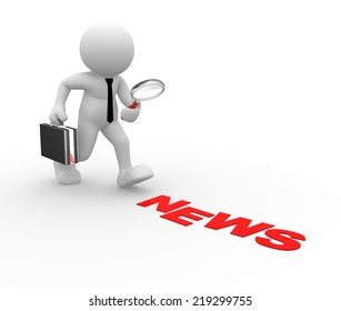 3d people -man, person with magnifying glass. News concept