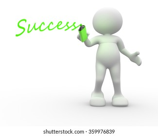 """3d people - man, person with marker and word """"success"""""""