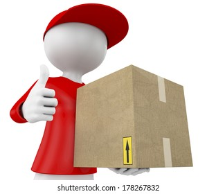 3d people - man, person with a package and doing ok symbol. Postman, delivery.