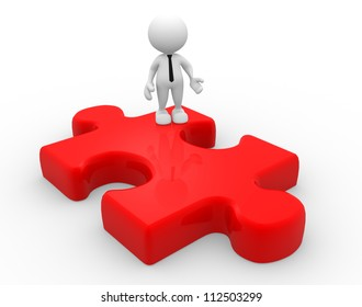 3d people - man, person and  piece of puzzle. Businessman