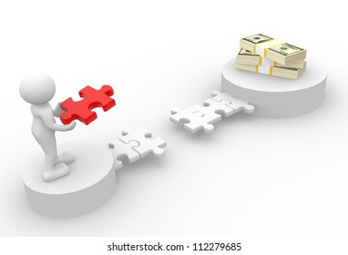 3d people - man, person with pieces of puzzle and a stack of dollars
