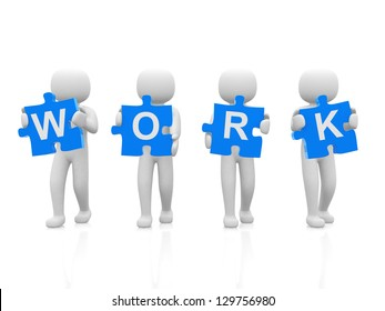 3d people, man, person with pieces of puzzle and word WORK - 3d render