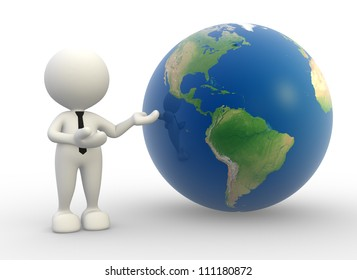 3d people -  man, person present a earth globe.