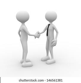 3d people - man, person shaking hands. Deal