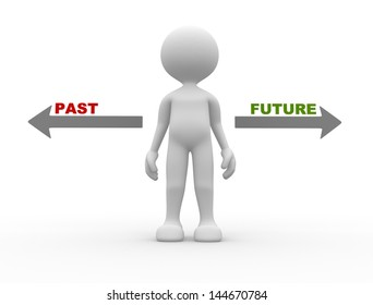 """3d people - man, person with signs with """"PAST"""" and """"FUTURE"""" pointing in opposite directions. Confused"""