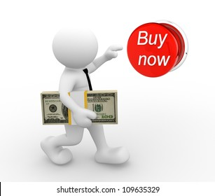 """3d people - man , person  with stack of money, pushing """"buy now"""" button. The concept of shopping"""