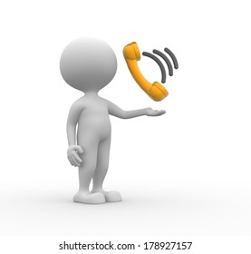 3d people - man, person with telephone handset