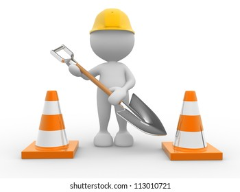 3d people - man, person with traffic cones and a shovel.
