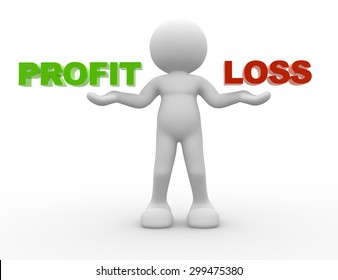3d people - man, person and word profit or loss