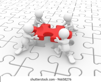 3d people - men, person and a last piece of jigsaw puzzle