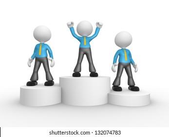 3d people - men, person on podium winner