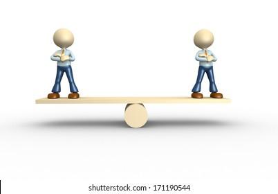 3d people - men, person on a balance. Businessman