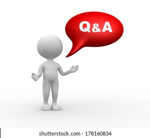 3d people - men, person with speech bubble and word Q&A - Question and answer